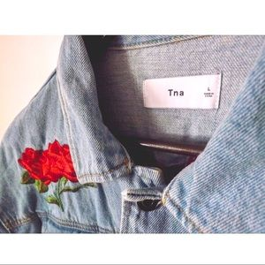 TNA Jackets & Coats - TNA Jean Jacket with Rose Embroidery